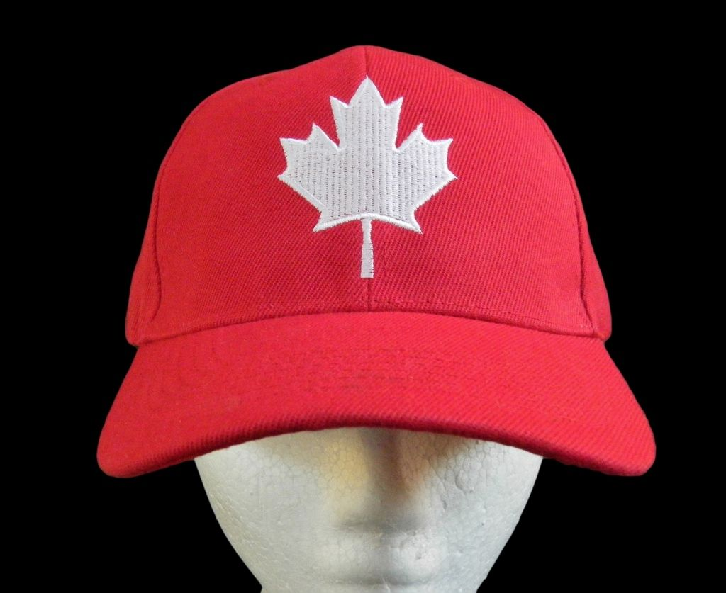 NEW CANADA  COUNTRY FLAG WITH MAPLE LEAF BLACK EMBROIDERED HAT CAP .