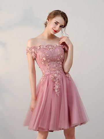6d2322285d95 Chic A-line Off-the-shoulder Tulle Pink Charming Short Prom Dress  Homecoming Dress AM229