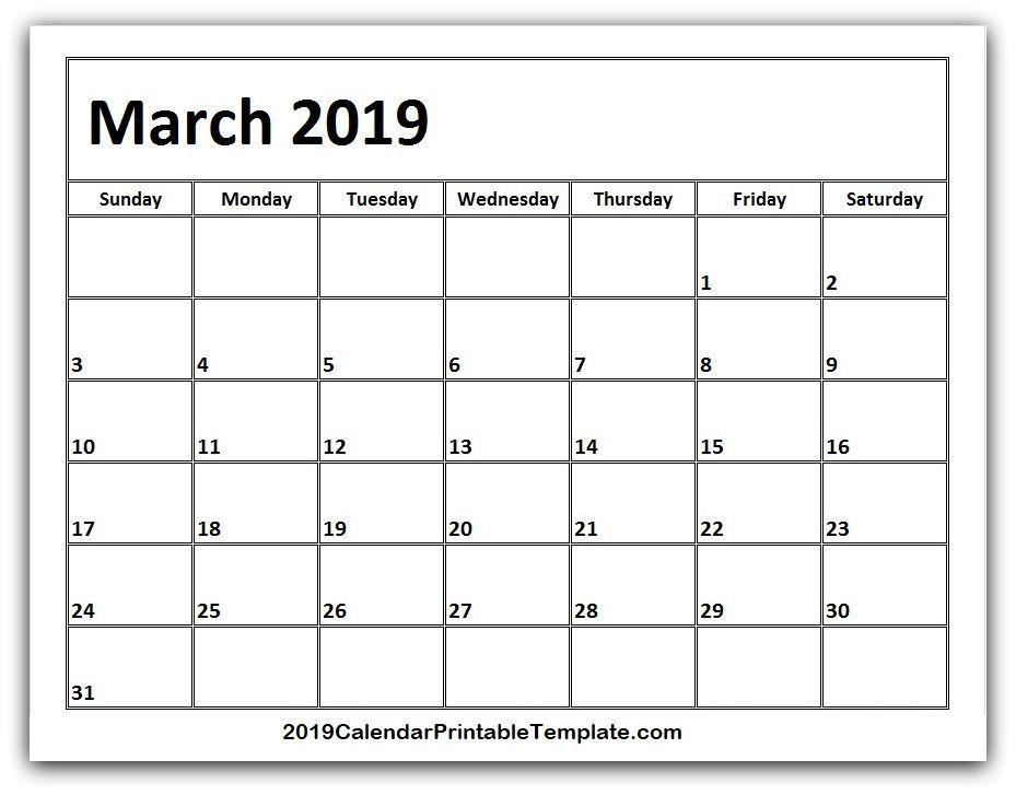 2019 March Calendar https//www2019calendarprintabletemplate