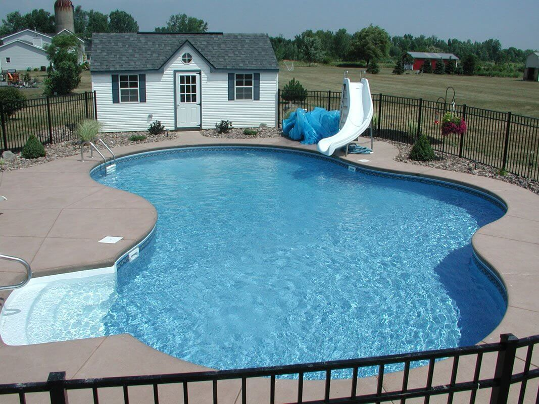 swiming pools stainless fence with white pool slide also hand