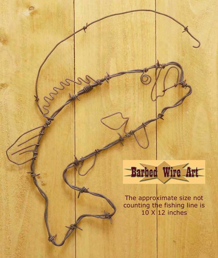 Bass Fish - Handmade metal decor barbed wire art country ...