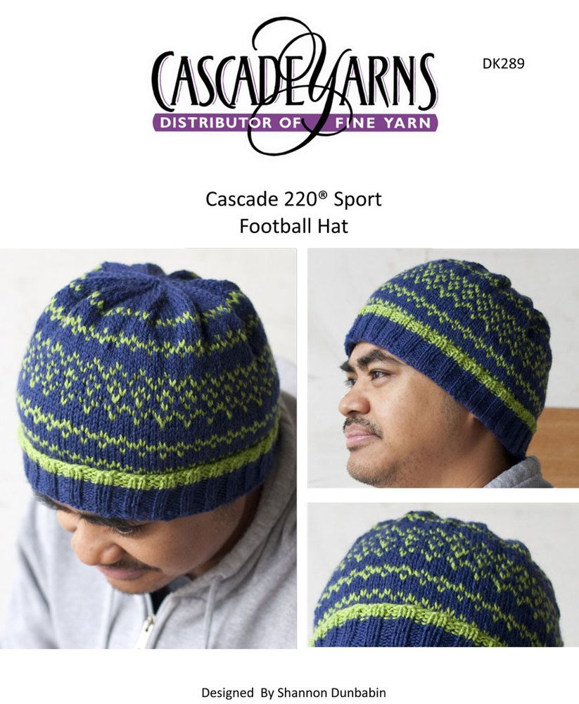 Football Team Hat in Cascade 220 Sport - DK289 | Hats - Knit - Men ...