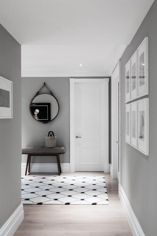 Hallway trim ideas  Grey white  Home ideas  Pinterest  Gray hallway White picture