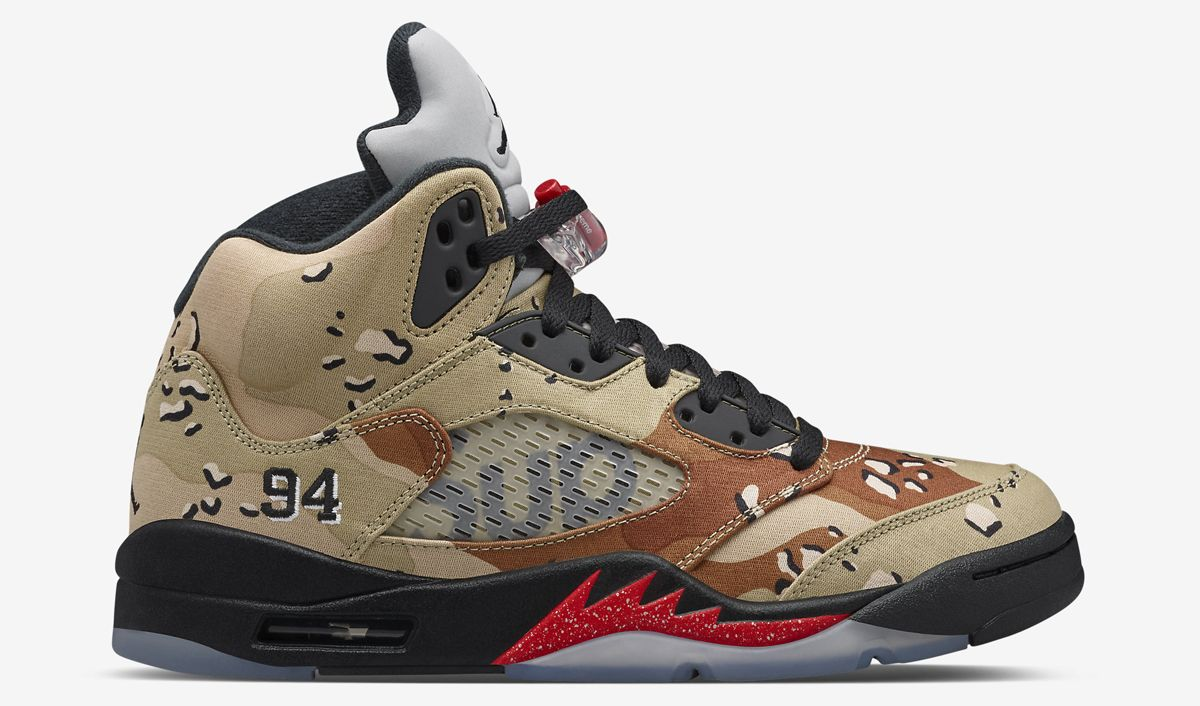 "Do Official Supreme x Air Jordan 5 ""Desert Camo"" Images Mean It's Releasing  Soon?"