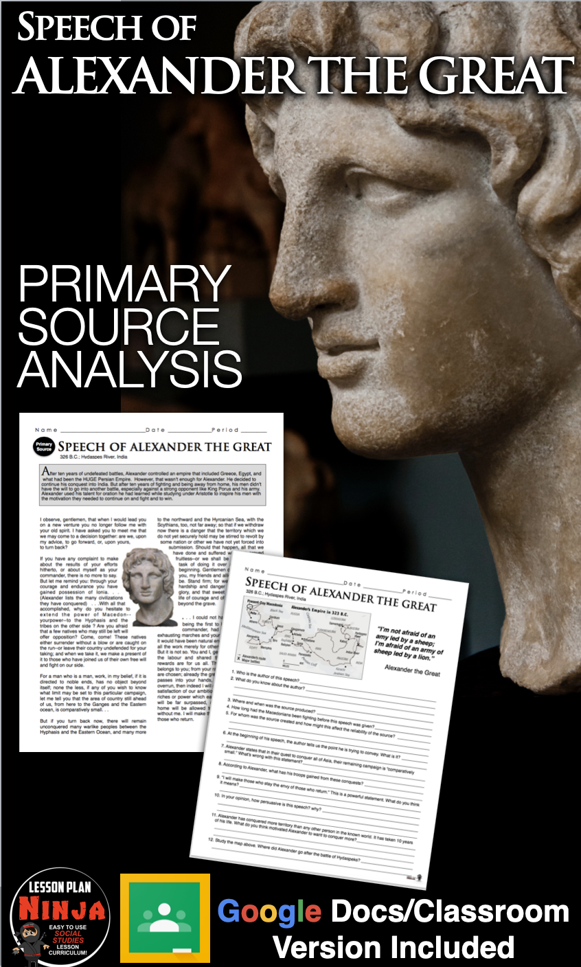 Photo of Alexander the Great Primary Source Worksheet (Greece) Distance Learning