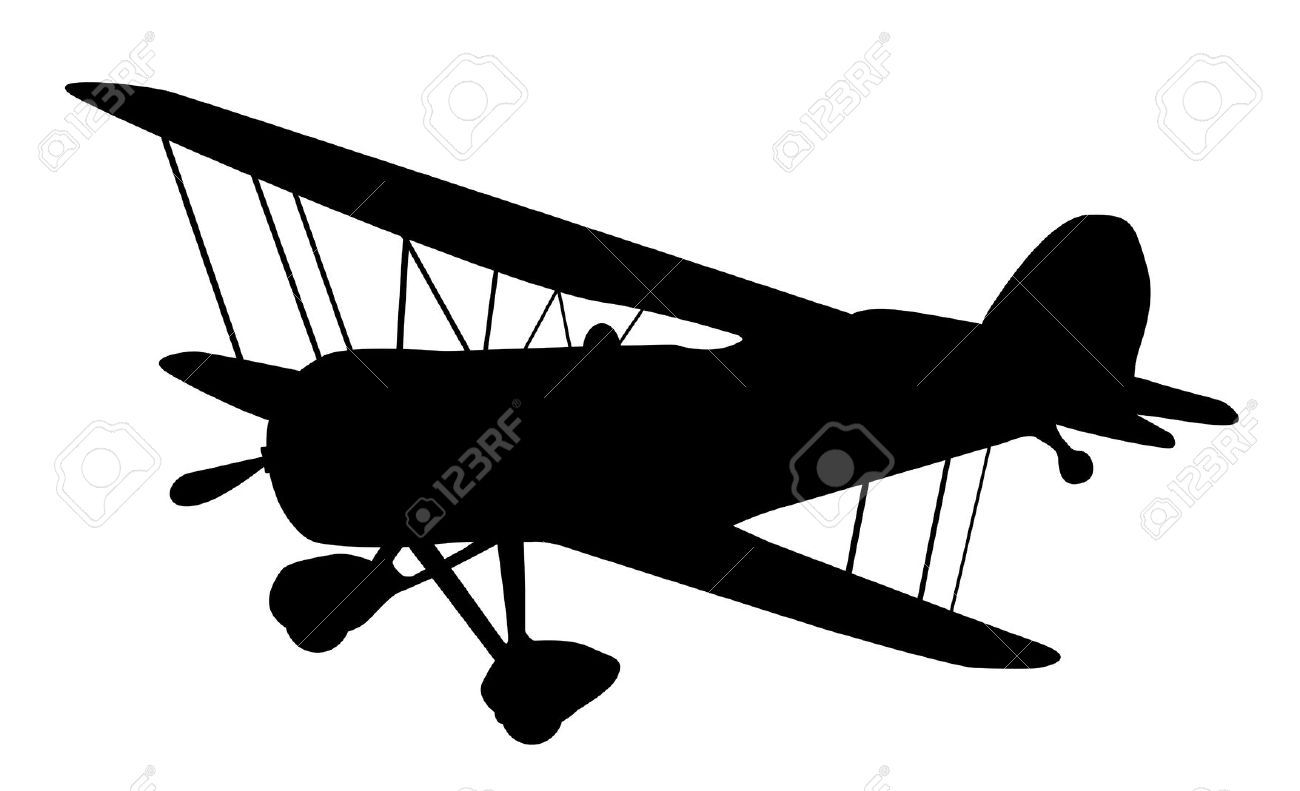9716441 vintage biplane silhouette balck and white stock airplane clip art free airplane clipart cartoon