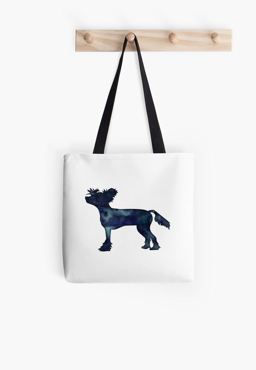 Chinese Crested Black Watercolor Silhouette Tote Bag By