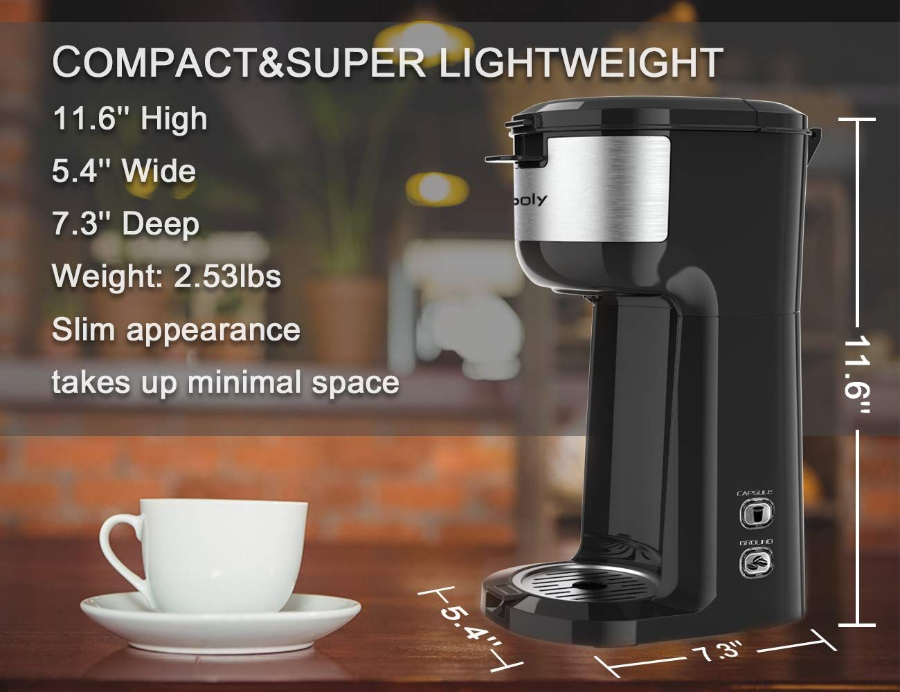 Single Serve K Cup Coffee Maker Brewer for KCup Pod and