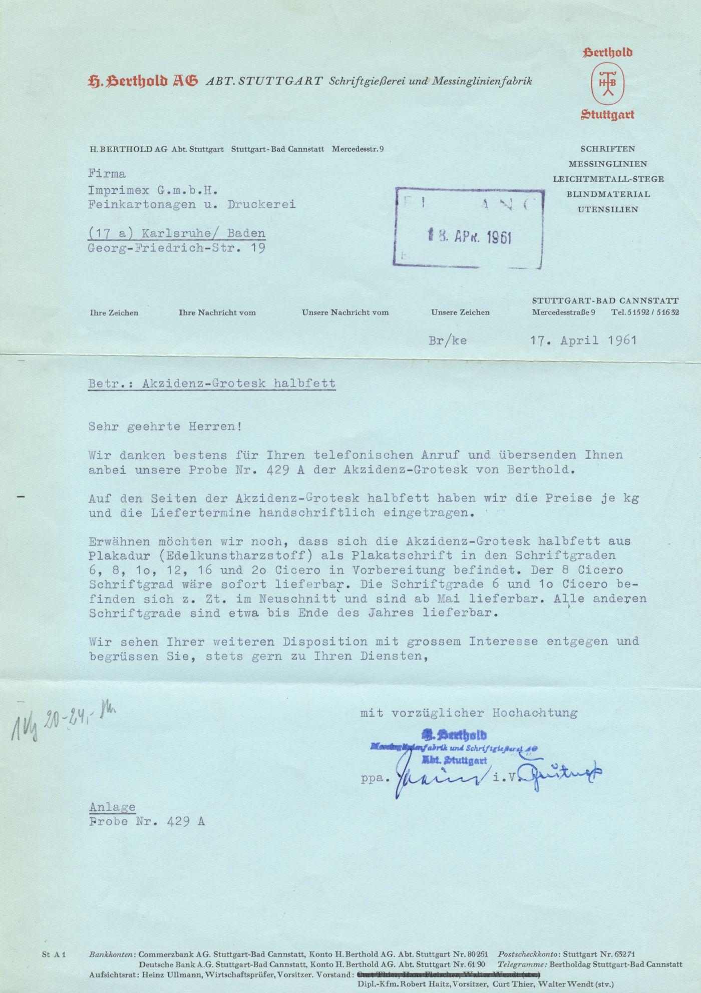 H Berthold Ag Letterhead 1961 Karlsruhe Lettering Letterhead