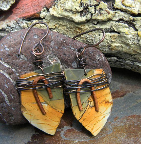 Owyhee Picture Jasper Earrings Copper Wire Wrap by ChrysalisToo, $43.00