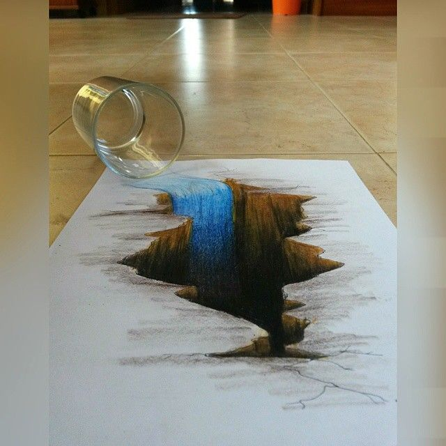 A Waterfall In A Hole #drawing #3d #hole #waterfall
