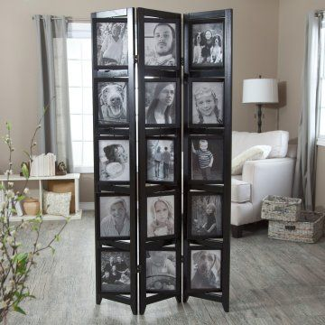 Memories Double Sided Photo Frame Room Divider Black 3 Panel 8 x