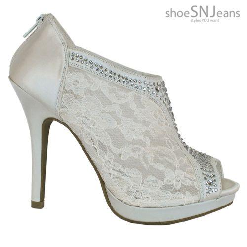 394f7ecd10abec women s pump  Wedding Bridal High Heel Platform Cystal Lace Ankle Bootie  (Ivory) 9 US