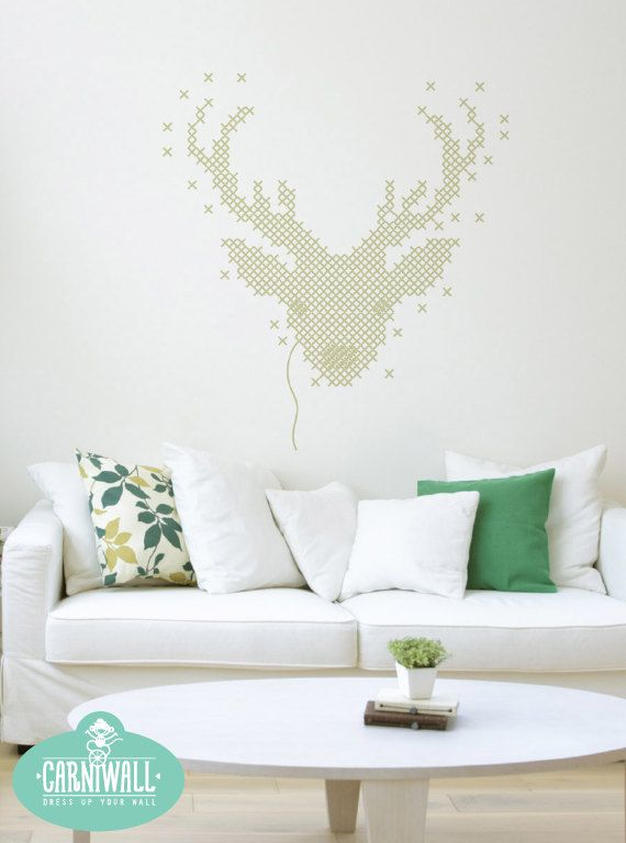 Deer Embroidery Like Wall Decal Elegant Vinyl Wall Sticker - Vinyl wall decal adhesive