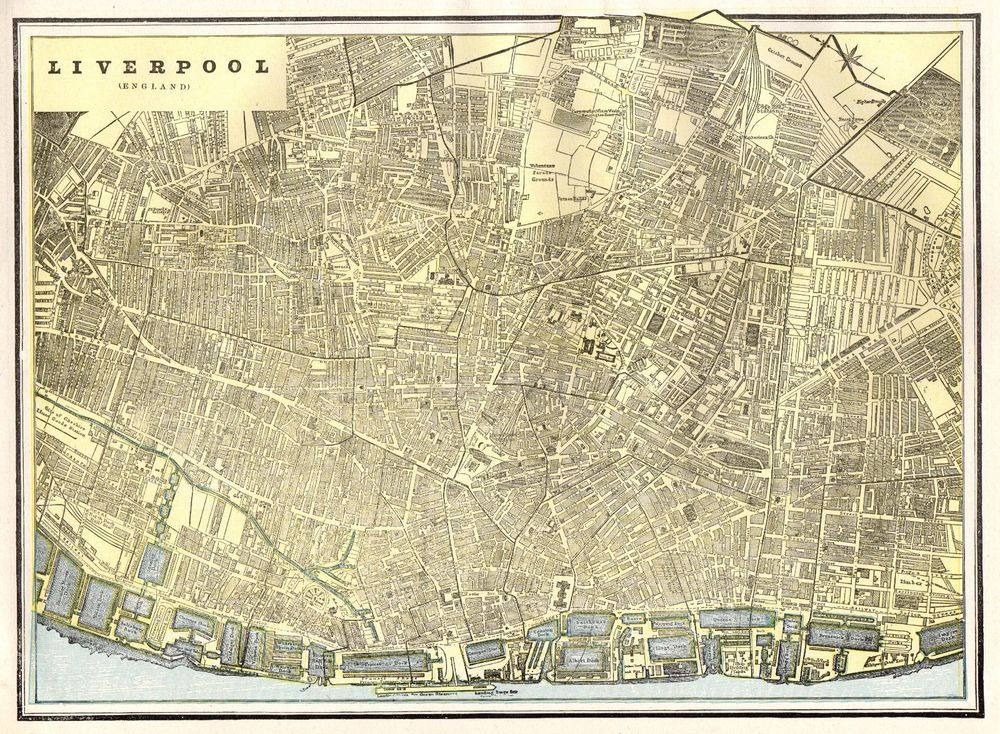 1890 Antique LIVERPOOL Map Vintage Map of Liverpool England Gallery ...