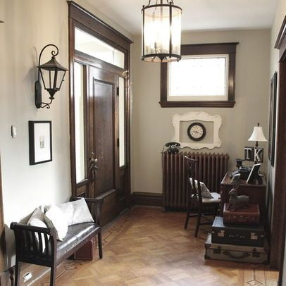 Dark Wood Trim And Grey Walls I Am Uncertain If I Like This Combo Bad Thing Is That I Had A Chair Upholstered In A Platinum Gr Dark Wood Trim Home