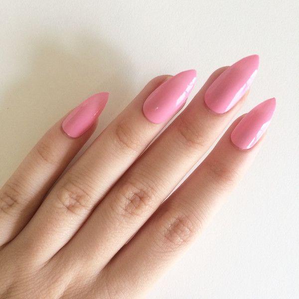 Gloss pink stiletto nails, hand painted acrylic nails, fake nails ...