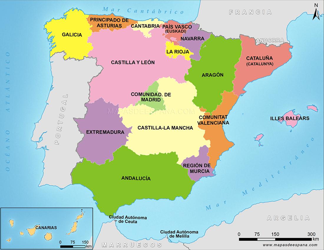 España y sus Comunidades Autónomas | Comunidades autonomas de espana, Mapa  fisico de españa, Mapa de españa