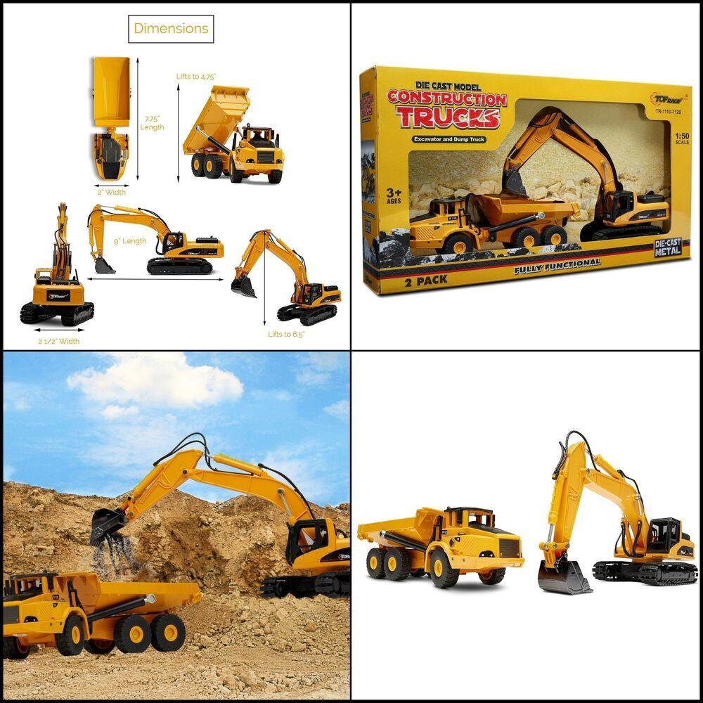 Kids Diecast Construction Vehicles Metal Excavator Dump Truck