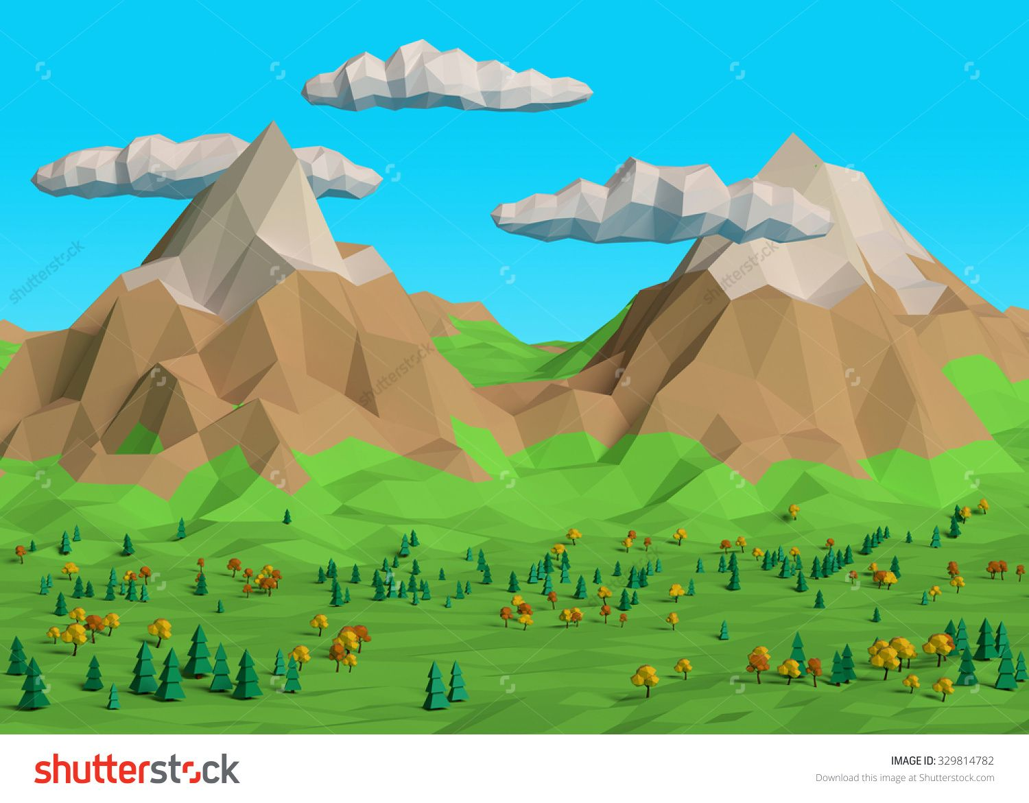 More similar stock images of 3d landscape with fall tree - Low Poly 3d Fall Autumn Mountain Landscape With Trees Clouds Green Grass And
