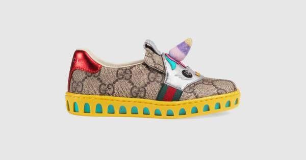bb794e2c0cbfe0 Gucci Toddler GG Supreme sneaker with unicorn | Girls | Toddler ...