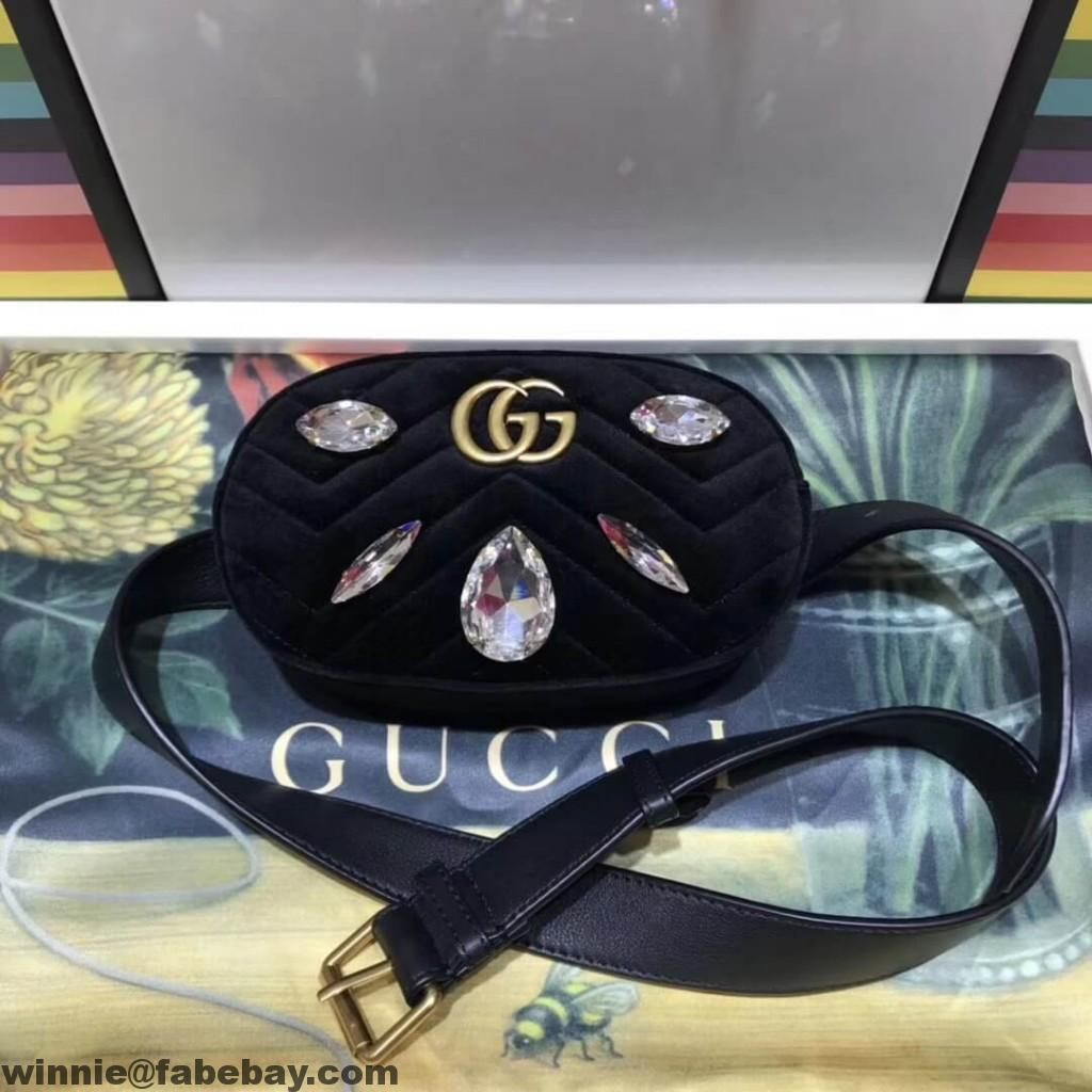 388e0085385b Gucci GG Marmont Velvet Belt Bag With Crystals 476434 2018 | Gucci ...