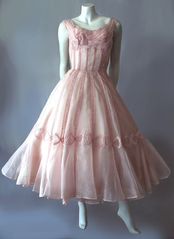8fef8850f3a 1950s Ceil Chapman pink cocktail dress