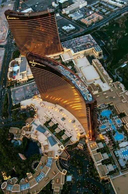 Wynn and Encore from seen from a helicopter above, Las Vegas, Nevada