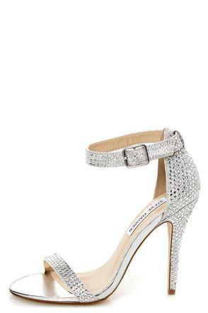 ac532905af0 Steve Madden Realov-r Silver Rhinestone Dress Sandals  99