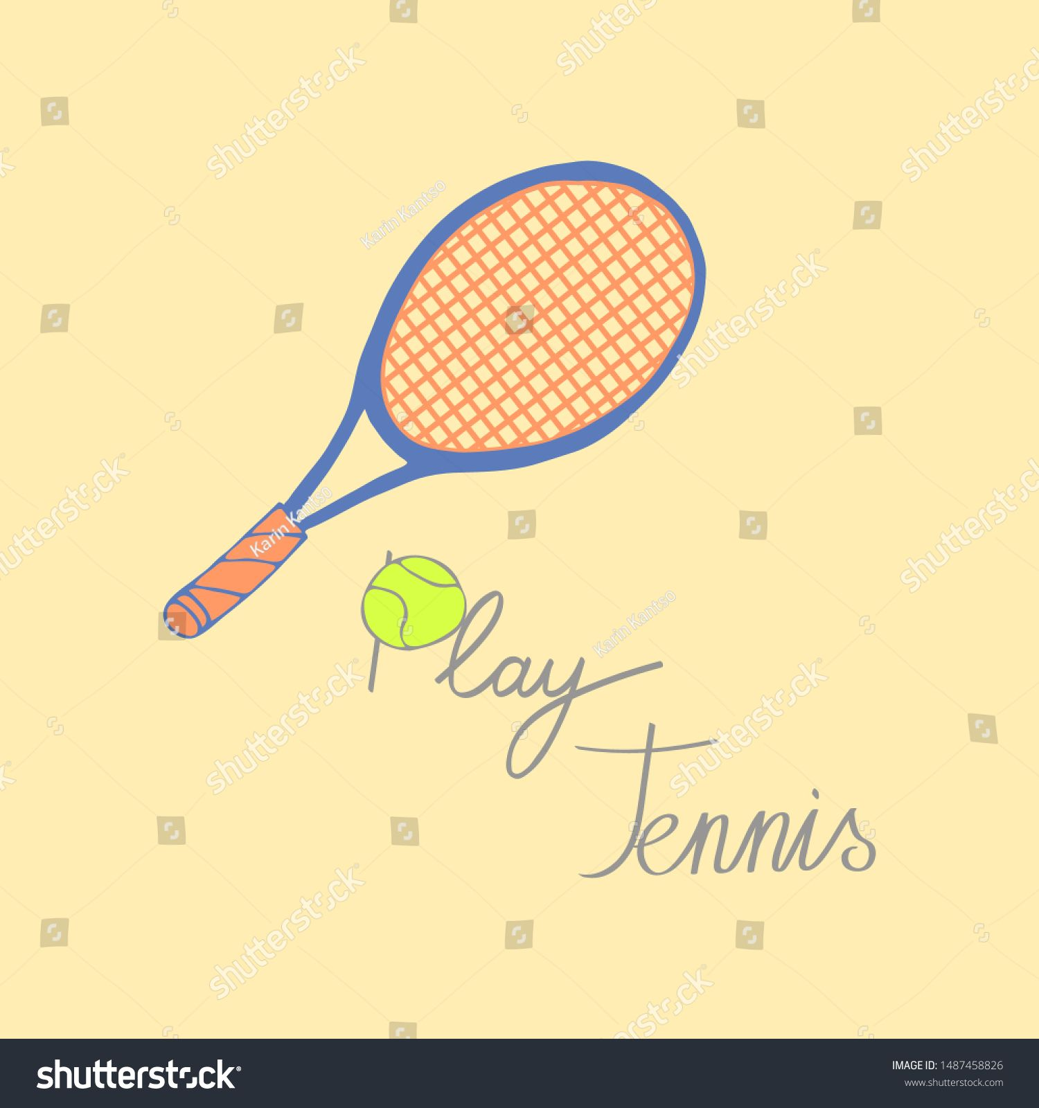 Tennis Cartoon Hand Draw Illustration With Lettering Tennis Racket Ball And Motivational Inscription Sponsored Canvas Texture Painted Paper Paper Texture