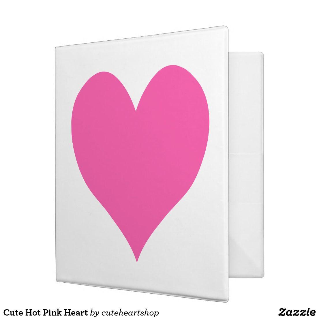 Cute Hot Pink Heart 3 Ring Binder