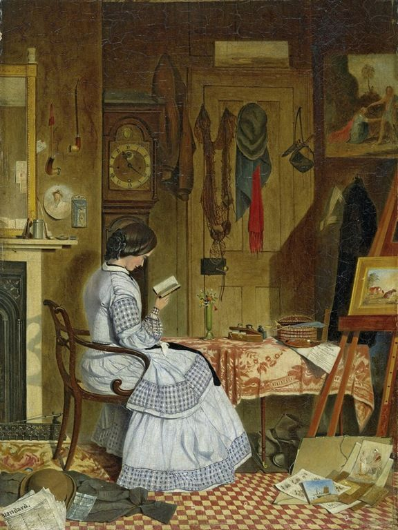 """A Quiet Read (1859). George Winchester (British, 1814 fl. to 1866). Oil on canvas. Exhibited: British Institution, 1860.  """"The reason for the artist's absence? He has had a painting rejected by the Royal Academy for the summer exhibition of 1859, the notice is under his palette — and has immediately gone up to town to submit this picture to the British Institution for their February show in the new year instead. Their notice is under his hat.  http://books0977.tumblr.com/"""