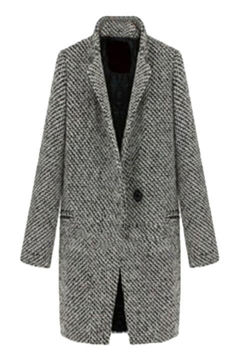 Gray Gird Womens Patterned Coat Tweed Winter Swallow Modern kXZliwOTPu