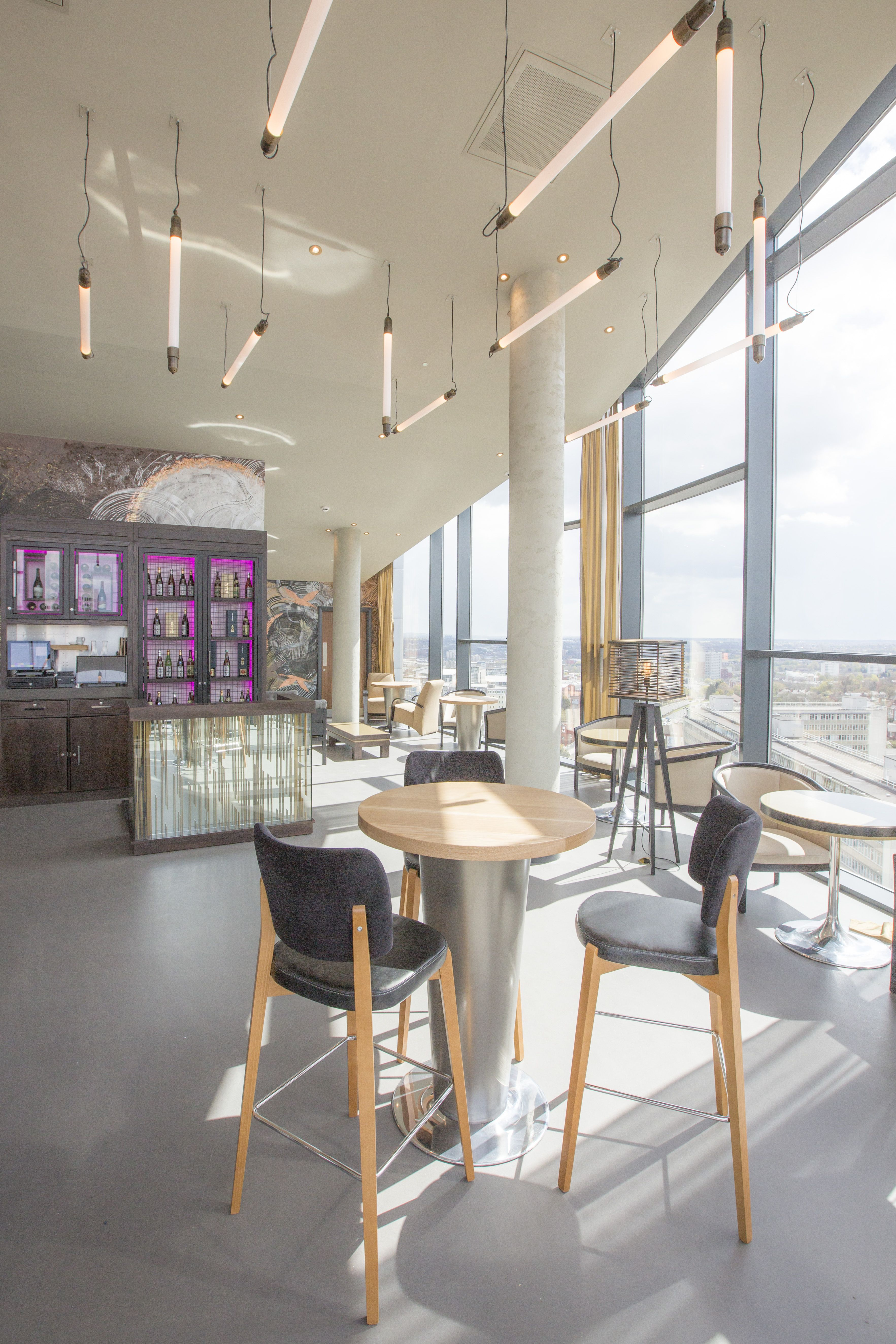 asian pendant lighting. Sky Bar - Linear Pendant Tube Lighting Over Asian Inspired Cool Furniture. Purple Neon Glow