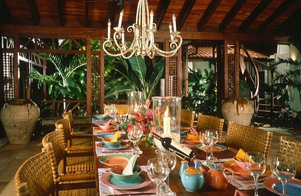 Caribbean Interior Decorating   Colorful Caribbean Inspired Dining Table  Decorations