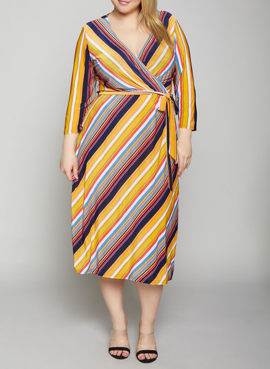 Plus Size Multi Color Striped Dress in 2019 | Products | Dresses ...