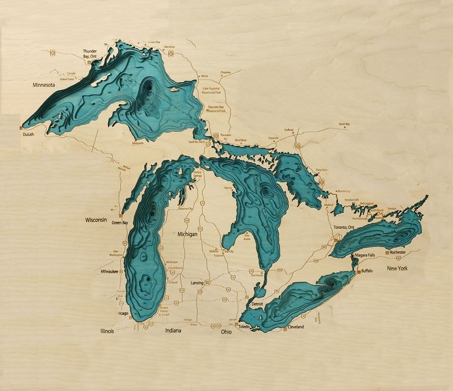 Exclusive Great Lakes Chart Map | Lakes