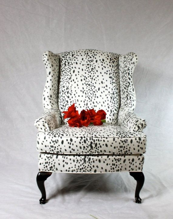 SOLD  Dalmatian Fabric Faux Suede Wing Back Chair Animal Print Black And  White Snow Leopard