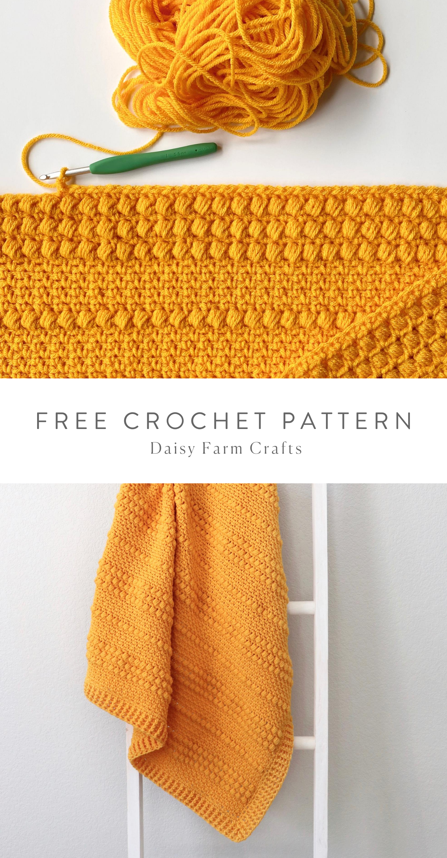 Free Pattern – Crochet Gold Puffs Baby Blanket