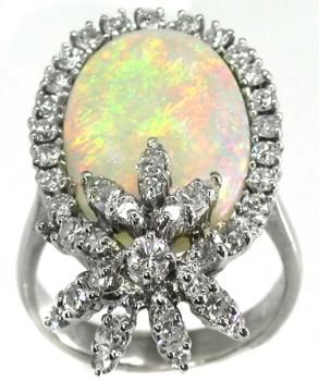 Vintage  Opal and 1.40ct Diamond  Gold Ring