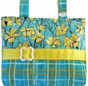 c939758f825 Classic Yellow & Aqua Floral & Plaid Mobility Bag Spreads Sunshine  Everywhere!
