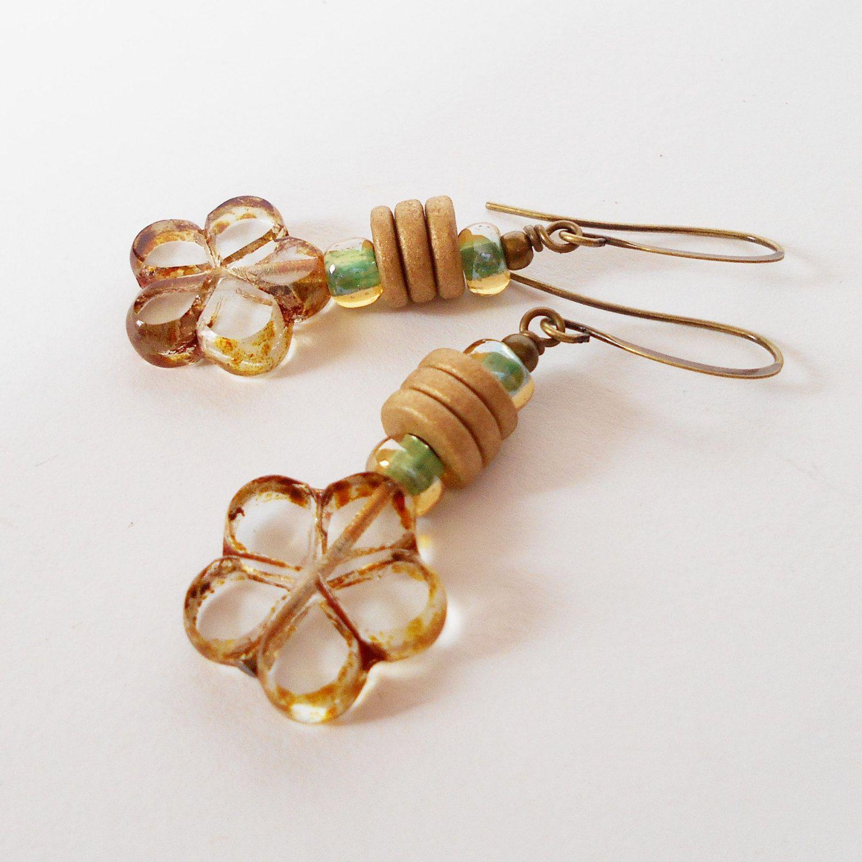 Gold Flower Drop Earrings Handmade Dangle Nature