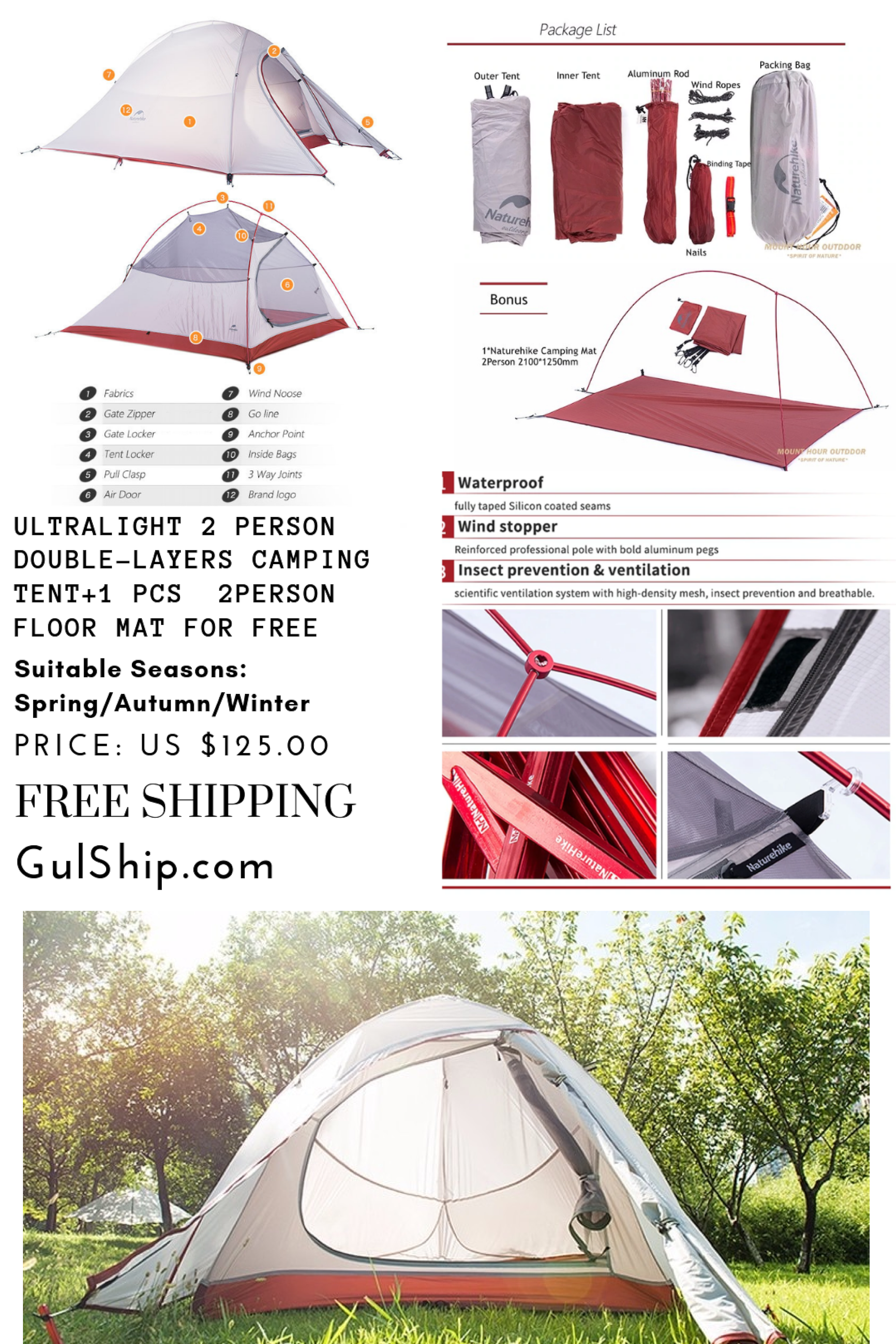 1 2KG Tent 20D Silicone Fabric Ultralight 2 Person Double