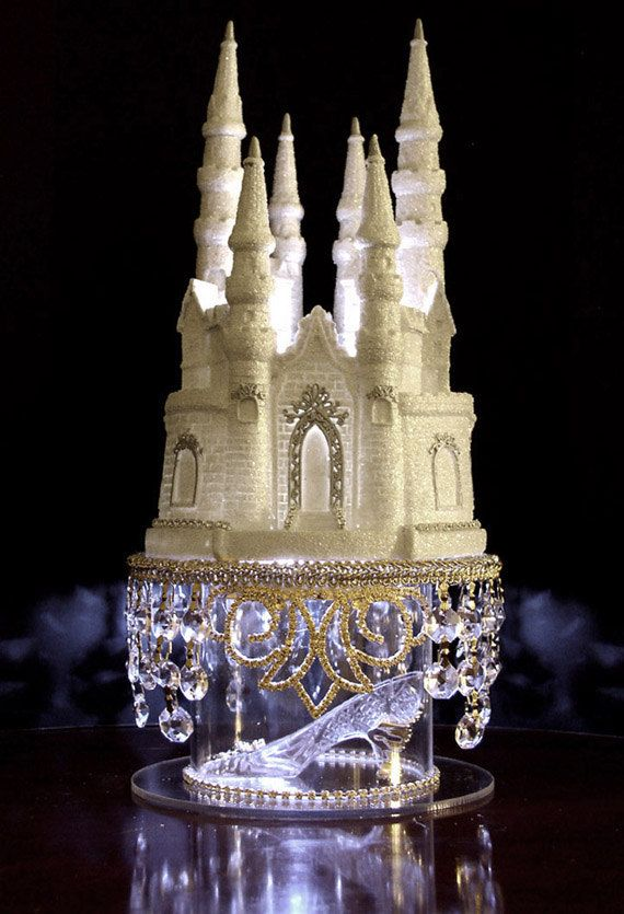 Captivating Cinderella Castle Wedding Cake Topper With Swarovski Crystals LIGHTED    Princess Fairytale