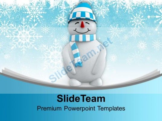 snowman with hat standing winter powerpoint templates ppt themes and graphics 0113 powerpoint templates themes background