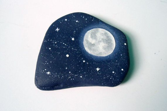 3 Day Starry Night Sky Painted Rock Paperweight Home Decor Office Supply