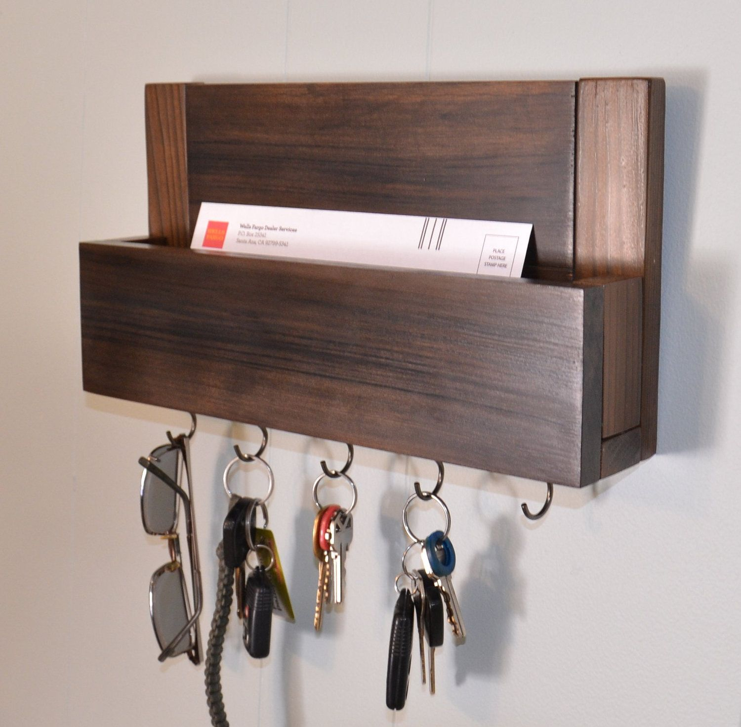 Rustic Reclaimed Wood 4 Hook Key Holder With Shelf Rustic