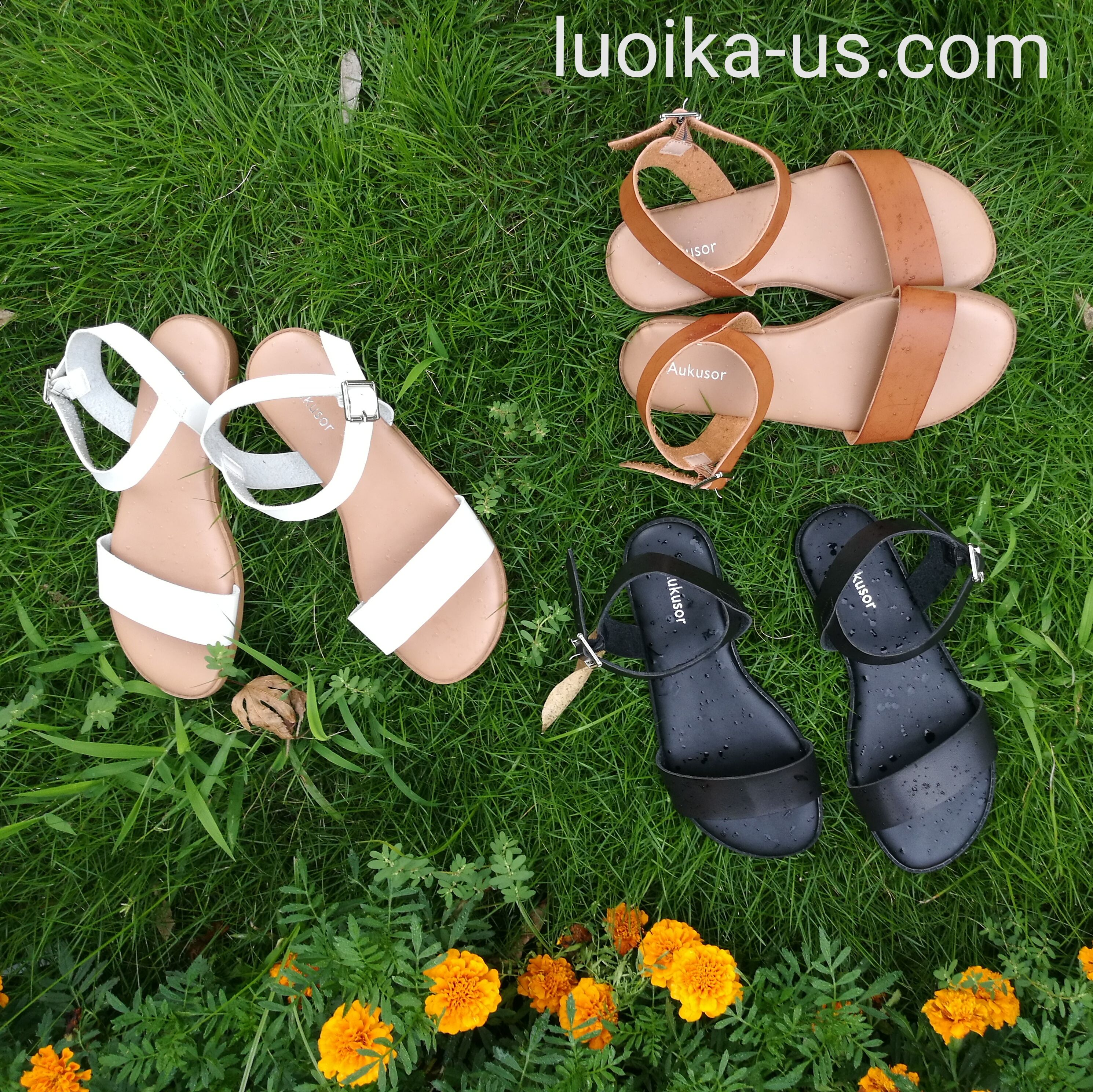 cde9aec402d Aukusor Women s Wide Width Flat Sandals - Comfortable Open Toe Ankle Strap  Flexible Casual Summer Shoes Faux leather upper