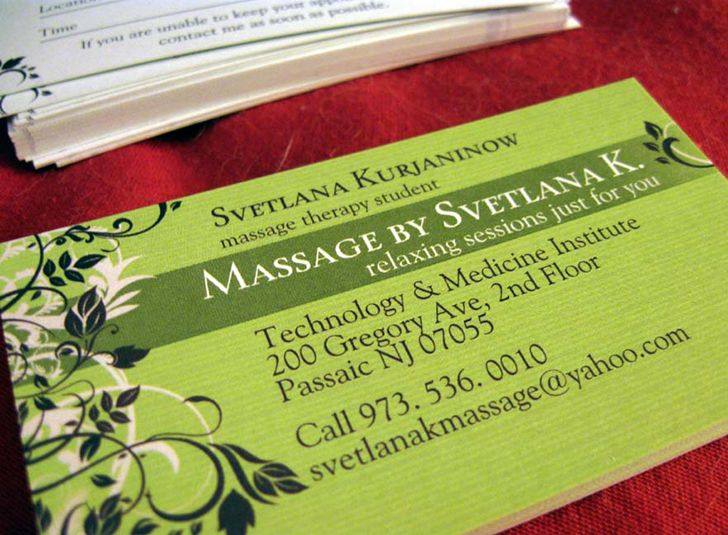 Great green massage therapy business cards template of svetlana great green massage therapy business cards template of svetlana kurjaninow massage therapy student flashek Choice Image