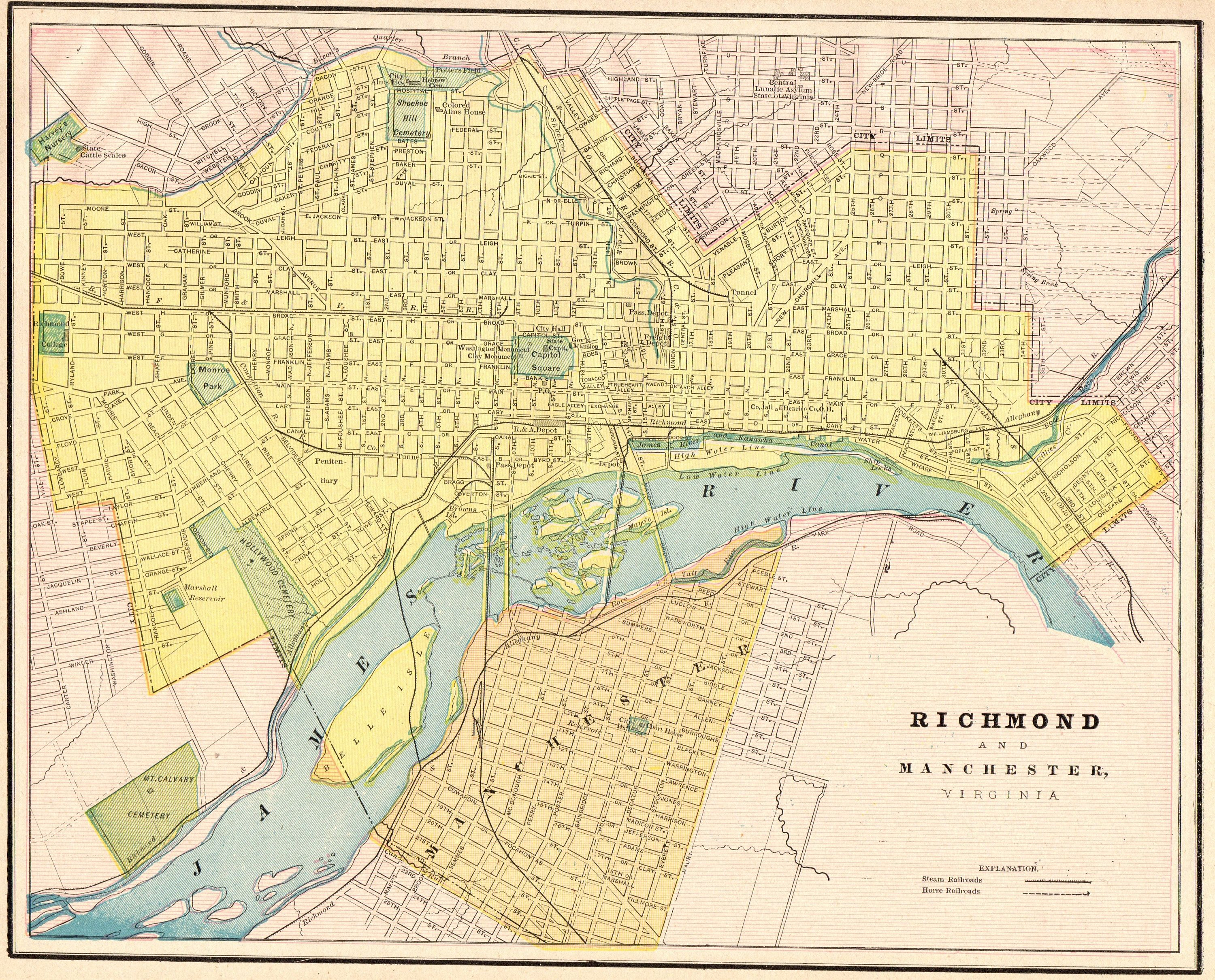 1892 Antique RICHMOND Virginia Antique Map of Richmond ...
